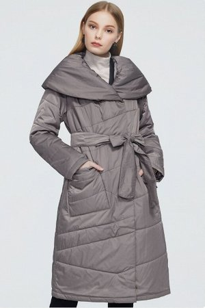 Женское демисезонное пальто с широким шалевым воротником ХИТ ПРОДАЖ, цвет серый кофе