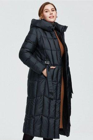Женский зимний пуховик-пальто с капюшоном ХИТ ПРОДАЖ, цвет черный