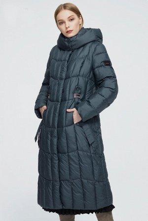 Женский зимний пуховик-пальто с капюшоном ХИТ ПРОДАЖ, цвет сине-зеленый