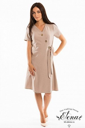 Платье Платье на запах с ассиметричной застёжкой на пуговицы, выполнено из льняного полотна. Силуэт полуприлегающий. Размерный ряд: 42-56. Состав Хлопок 80% Полиэстер 20% Артикул 32059а Базовая единиц