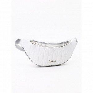 Стильная поясная сумочка бело-серебряная