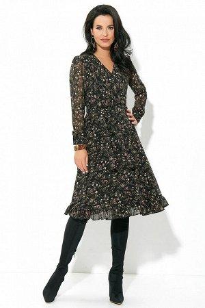 Платье Состав 100% ПЭ Платье (длина по спинке до талии – 39,5 см, длина от талии до низа – 66 см, длина рукава – 61 см, цвет: мультиколор) - полуприлегающего силуэта, отрезное по линии талии, на резин