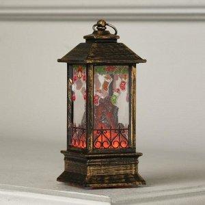 """Фигура светодиодная """"Фонарь Камин рождеств. носочки"""", 13х5.5х5.5 см,бат. 3хLR44, эфф. огня"""