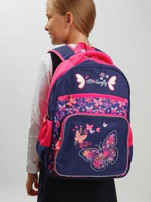 Рюкзак текстильный для девочек тёмно-синий,розовый