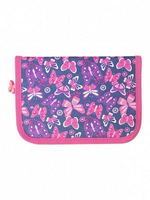 Пенал текстильный для девочек синий,розовый,фиолетовый