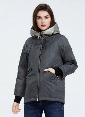 Демисезонная женская куртка с капюшоном, цвет СЕРО-ЗЕЛЕНЫЙ
