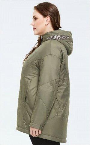 Женская демисезонная легкая куртка с капюшоном, цвет зеленый горошек
