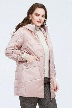 Женское демисезонное полупальто с капюшоном, цвет светло-розовый