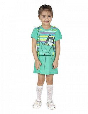 Платье для девочки Л1949-5268 зеленое яблоко