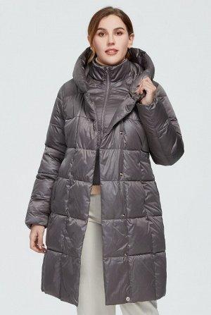Женский зимний пуховик с капюшоном ХИТ ПРОДАЖ, цвет серый