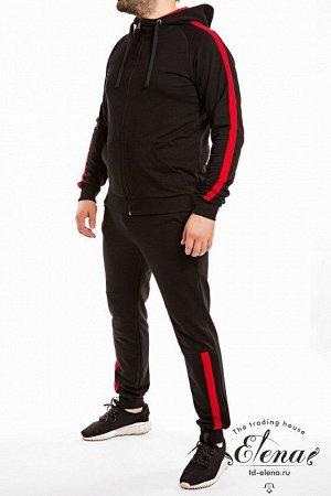 Костюм Мужской спортивный костюм из футер петли, куртка с карманами, длинным рукавом, капюшоном, застёжкой на молнию. Брюки с карманами по бокам, пояс на резинке и шнуре, внизу на манжетах. На куртке