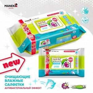 """Салфетки влажные """"Maneki"""", очищающие с антибактериальным эффектом."""