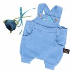 Комплект одежды для Басика Голубой комбинезон с розочкой