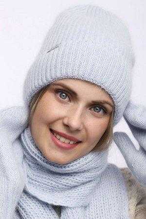 Комплект Комплект шарф, шапка, варежки  54-58 см; голубой; Ангора, полный подклад флис -  Шерсть 60% -10%полиамид- 30% ангора