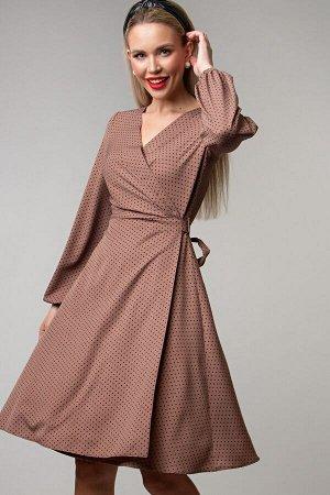 Платье Лаура горох цвет беж (П-236-2)