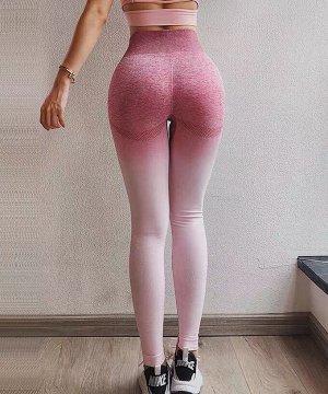 Розовые леггинсы с высокой талией и градиентной окраской
