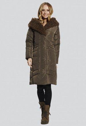 """2109 хаки Теплое зимнее пальто от российского производителя D'imma Fashion Studio, с отделкой капюшона искусственным мехом """"под козлик"""". Прорезные карманы на молнии, капюшон не отстегивается"""