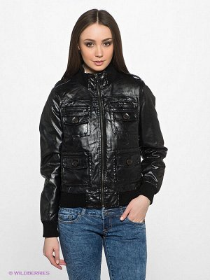 Куртка Стильная куртка с длинными рукавами и воротником-стойка. Дополнена модель застежкой на молнию и накладными карманами. Отличный вариант на каждый день.