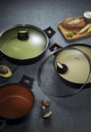 Глубокая сковорода с антипригарным покрытием, цвет оливковый, 28 см