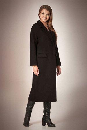 Пальто Пальто Andrea Fashion AF-58 черное  Состав ткани:Пальто: ПЭ-90%; Спандекс-2%; Шерсть-8%; Подкладка: ПЭ-100%;  Рост: 170 см.  Стильное двубортное пальто прямого силуэта, длиной midi, с застежко