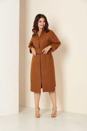 Пальто Пальто Andrea Style 00274 верблюд  Состав ткани: ПЭ-98%; Спандекс-2%;  Рост: 170 см.  Удлиненное женское пальто на подкладке изготовлено из текстильного ворсового полотна –драпа. Силуэт
