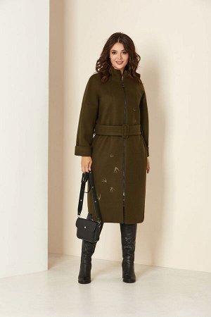 Пальто Пальто Andrea Style 00274 хаки  Состав ткани: ПЭ-98%; Спандекс-2%;  Рост: 170 см.  Удлиненное женское пальто на подкладке изготовлено из текстильного ворсового полотна –драпа. Силуэт пал