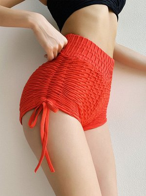Красные обтягивающие шорты с высокой талией с рельефным узором