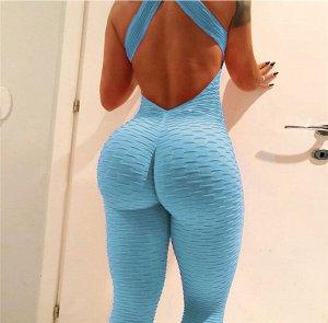 Голубой спортивный комбинезон с открытой спиной
