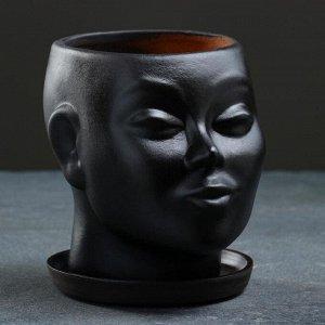 """Фигурное кашпо """"Голова"""". чёрное. 17х14х15см"""