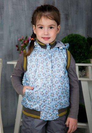 Жилет детский утепленный расцветки цветы голубые арт.50-001-цветы_голубые