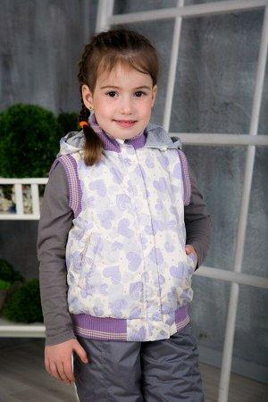 Жилет детский утепленный расцветки сердечки сиреневые арт.50-001-сердечки_сиреневые
