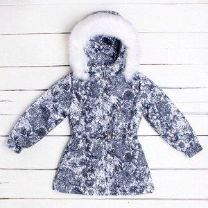 Куртка зимняя для девочки расцветки букет черный арт.70-015-букет_черный