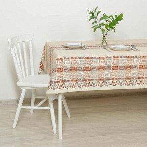 Клеёнка столовая на ткани «Греческая», ширина 137 см, рулон 20 метров, цвет коричневый