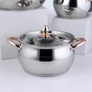 Набор посуды «Танто голд», 3 предмета: 2 л, 3,8 л, 6,3 л, индукция