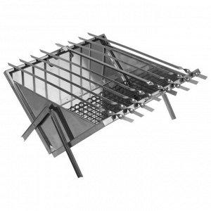 Мангал-дипломат, 8 шампуров, нержавеющая сталь, 1,0 мм, в сумке