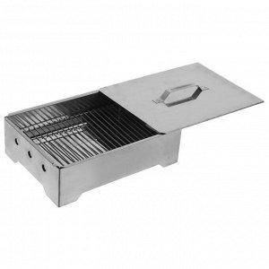 Коптильня-гриль портативная, нержавеющая сталь 0,8/1,0 мм, в сумке