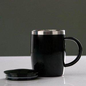 """Термокружка """"Алам"""" 450 мл, с крышкой, 12х12 см, чёрная"""