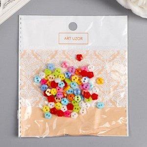"""Пуговицы пластик для творчества 2 прокола """"Цветные цветочки"""" микро набор 80 шт 0,6х0,6 см"""