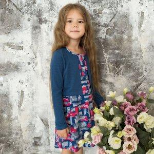 Трикотажное платье для девочки арт.ПЛ-719-индиго_тетрис