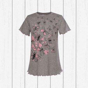 Сорочка для девочки арт.818-меланж_бабочки
