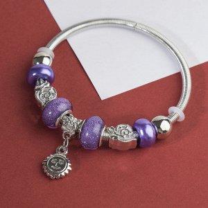 """Браслет ассорти """"Марджери"""" сова, цвет фиолетовый в серебре, d=6,5 см"""