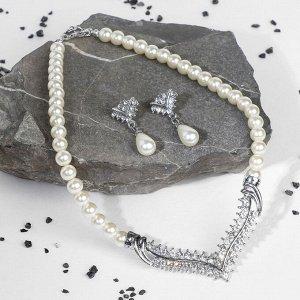 """Набор 2 предмета: серьги, колье """"Антуанетта"""" искры, цвет белый в серебре"""