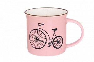 """Кружка 210 мл 11*7,5*7,5 см """"Велосипед"""" розовая"""