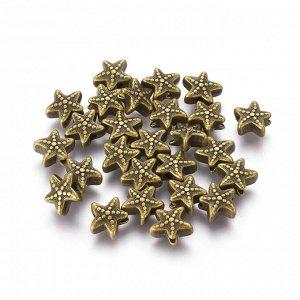 Бусина металлическая, 10.5*9*5мм, морская звезда, бронзового цвета. Цена за 1 шт.