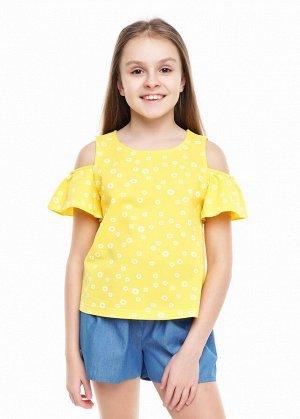 * Цвет: жёлтый/белый Описание:  Блузка на пике 100% хлопок  во флаконе с модной набивкой и фактурой. Модель оформлена  романтичными, короткими рукавами в форме воланов.  Состав:  100%Хлопок