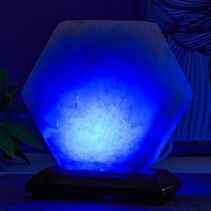 """Соляной светильник  """"Гайка"""" LED (диод цветной) USB белая соль 10х7х10 см"""