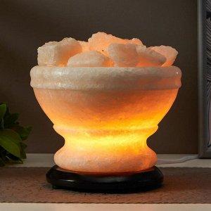 """Соляной светильник с диммером  """"Чаша огня"""" Е14 15Вт 4-6 кг белая соль 18х18х20 см"""