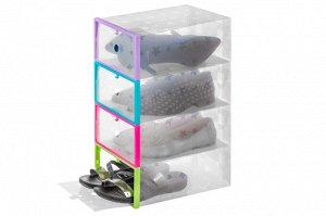 """Набор 4 коробок для хранения обуви 29*21*12 см """"Голубая+Розовая+Салатовая+Сиреневая рамки"""" складные"""