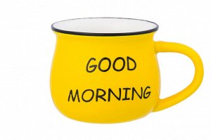 "Кружка 250 мл 11*8*7 см ""Доброе утро"" ярко - желтая, бочонок, NEW BONE CHINA"