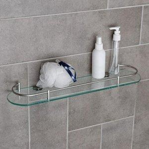 Полка для ванной комнаты, 50?12?4 см, металл, стекло